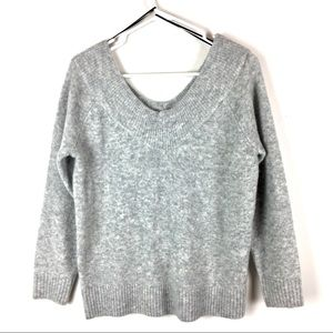H&M Double V-Neck Sweater in Gray